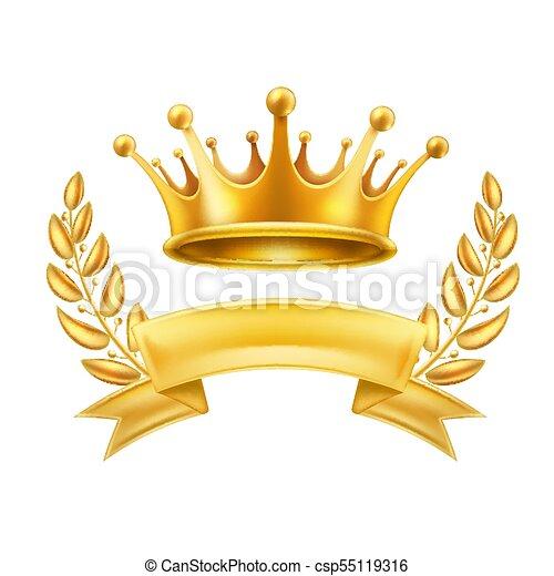 Gold Crown Ribbon Laurel Wreath Winner Shiny Sign Gold Crown Ribbon