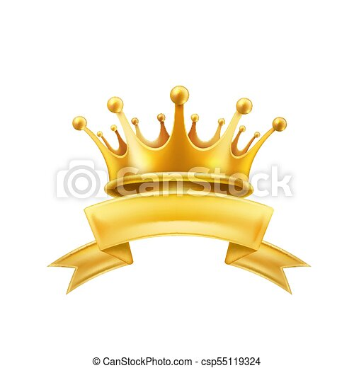 Gold Crown Ribbon Winner Shiny Sign Black Gold Crown Ribbon Shiny