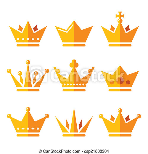 Gold crown, royal family icons set - csp21808304