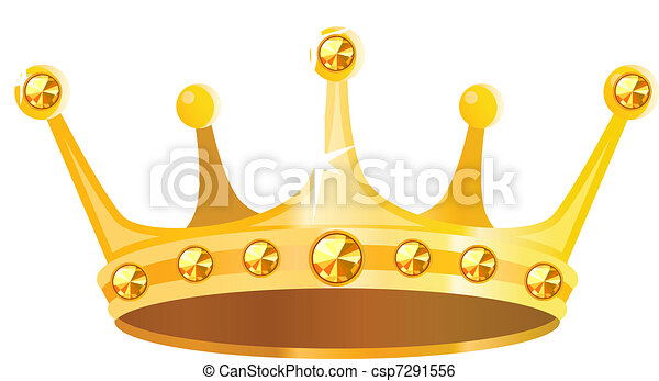 Gold crown with gems isolated on white background - csp7291556