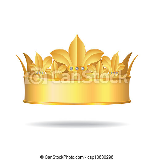 Gold crown with white gems - csp10830298