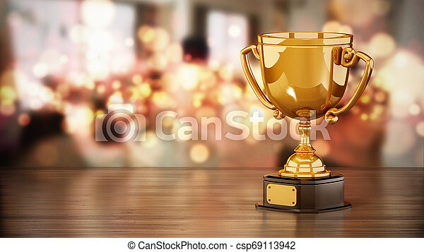 Gold cup standing on wooden table against bokeh background. 3D illustration - csp69113942