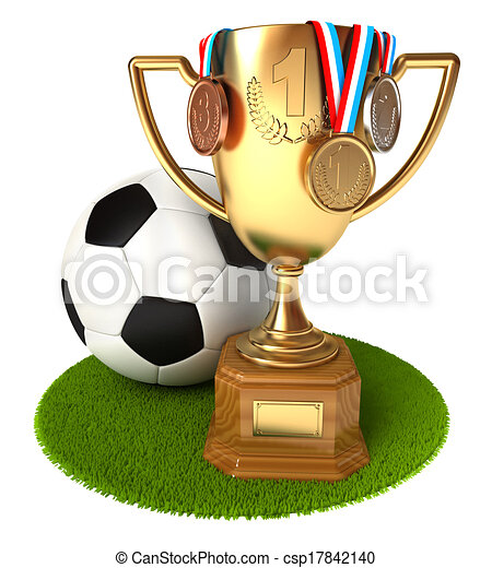 Gold Cup with medals and soccer ball - csp17842140