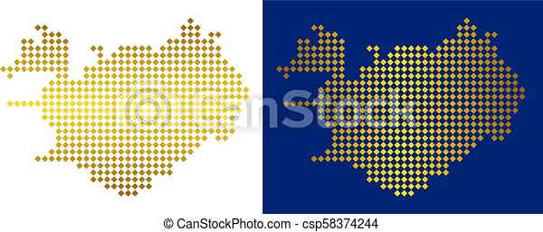 Gold dot iceland map. Golden dot iceland map. vector geographical ...
