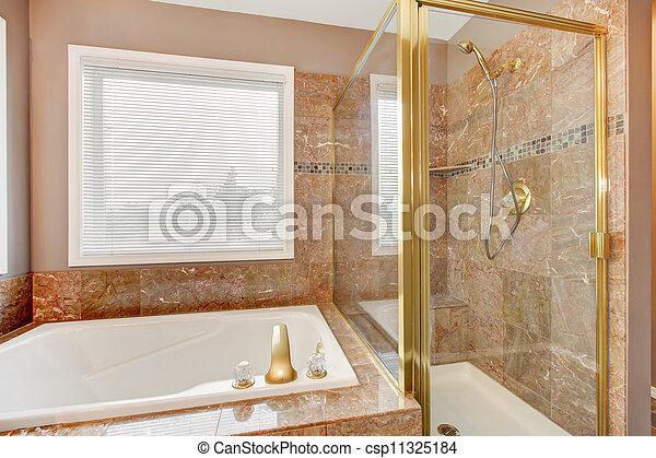 Gold, Dusche, Metal., Luxus, Neu , Granit, Wanne   Csp11325184