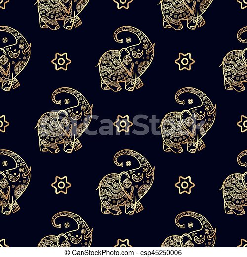 Gold Elephant Seamless Pattern