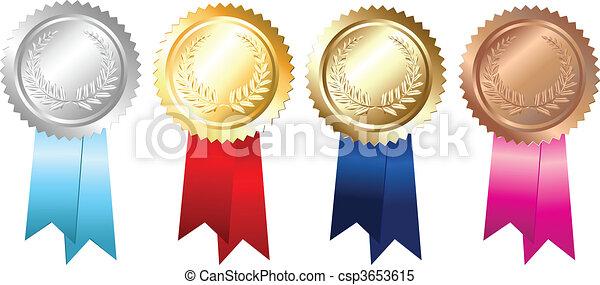 gold, embleme, silber, bronze - csp3653615