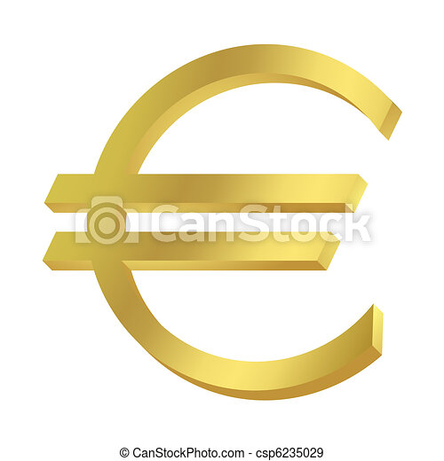 Gold Euro Sign Or Symbol Isolated On White Background