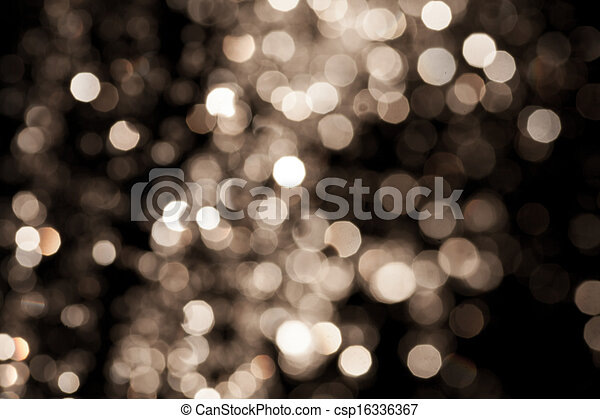 Gold Festive Christmas background. Elegant abstract background with bokeh defocused lights and stars - csp16336367
