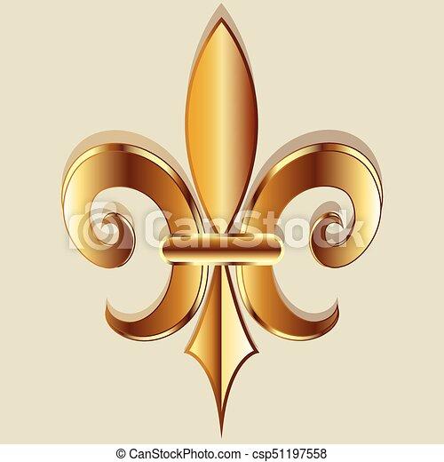 gold fleur de lis symbol logo gold elegant fleur de lis flower