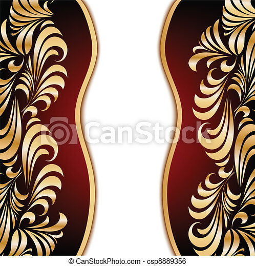 Gold floral background. Vector - csp8889356