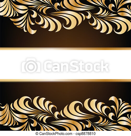 Gold floral background. Vector - csp8878810
