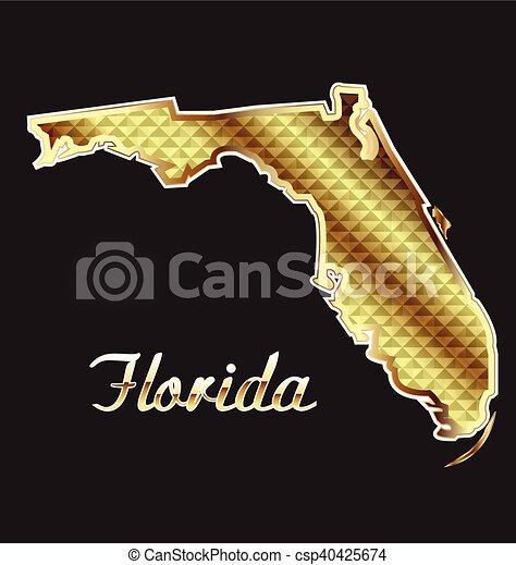Gold Florida Map - csp40425674