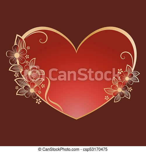 Gold flower heart shaped frame with red copy space. valentine\'s day ...