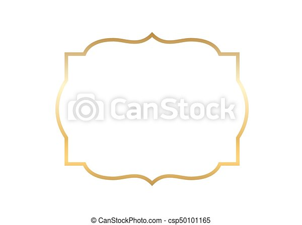 Beautiful Simple Line Art : Gold frame beautiful simple golden design clip art