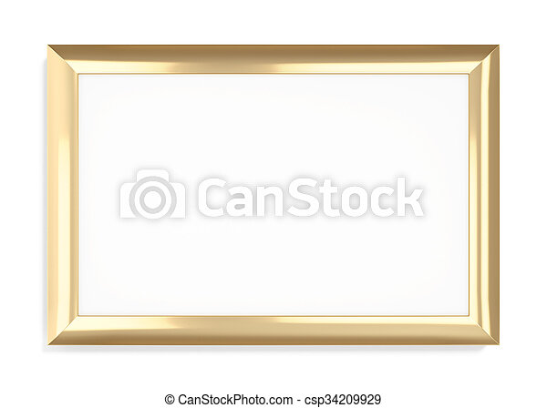 Gold frame on a white background. 3d rendering.