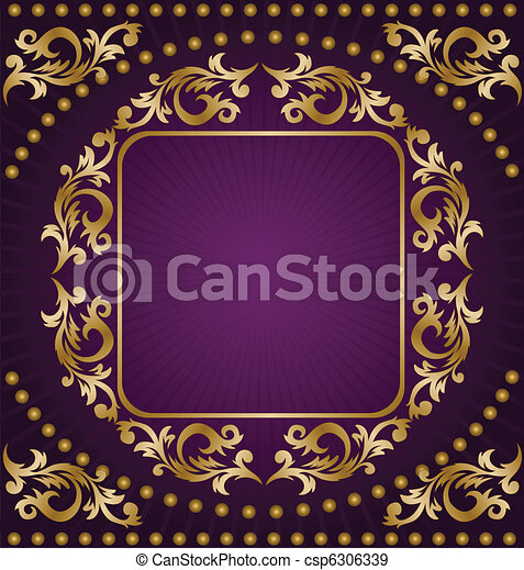 Gold frame on purple background - csp6306339