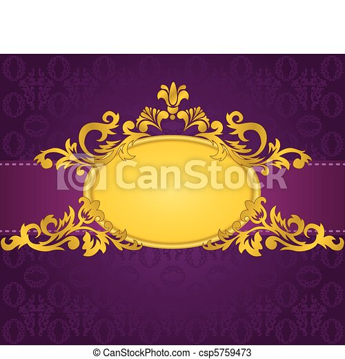 gold frame on purple background - csp5759473