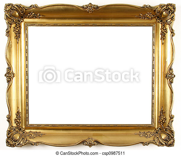 Old antique gold frame over white background.