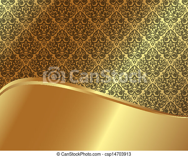 Gold frame with pattern 7 - csp14703913