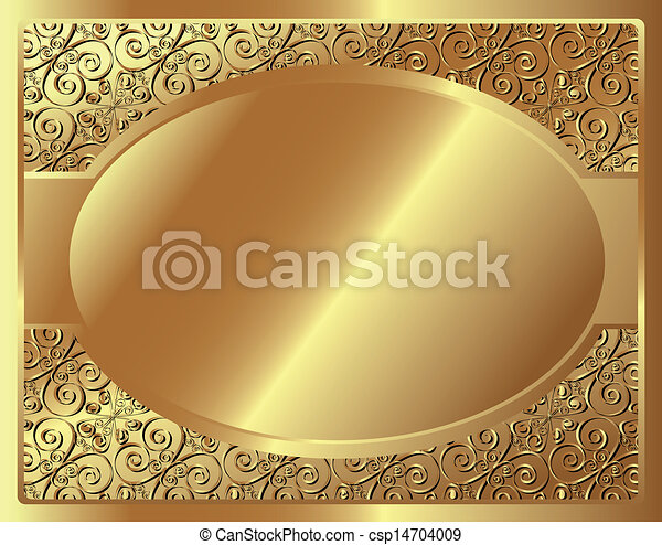 Gold frame with pattern - csp14704009