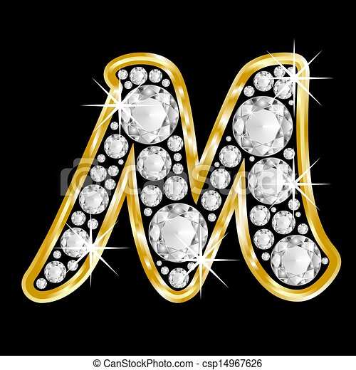 M Letter In Black Diamonds Gold framed alphabet l...