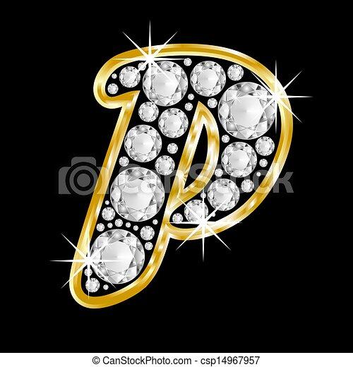 Gold Framed Alphabet Letter P Gold Framed Alphabet Filled With