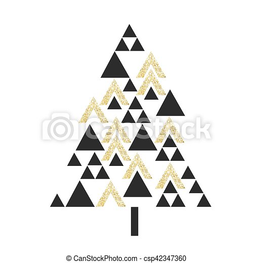 Gold Geometric Christmas Tree Symbol Isolated On White Vector Template For Holiday Designs