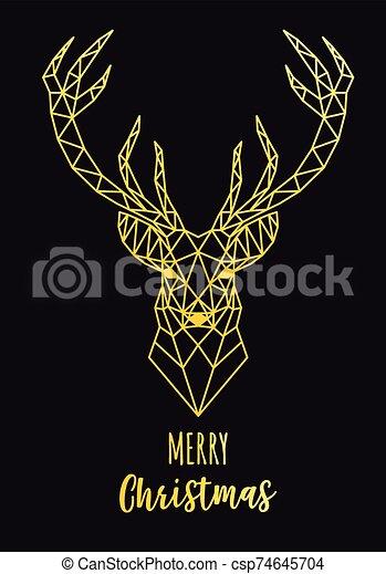Gold geometric reindeer Christmas card, vector - csp74645704