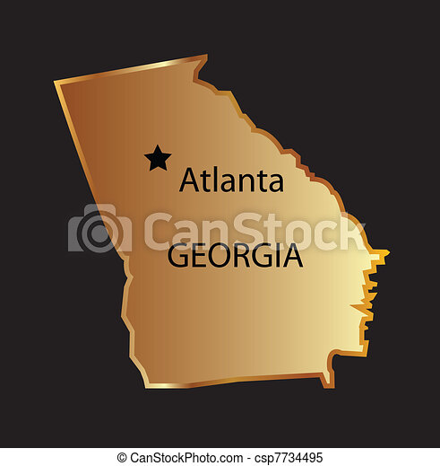 Clipart Vector Of Gold Georgia State Map With Capital Name Gold - Georgia gold map