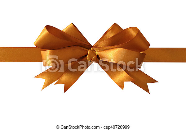 gold gift bow and ribbon isolated on white background straight