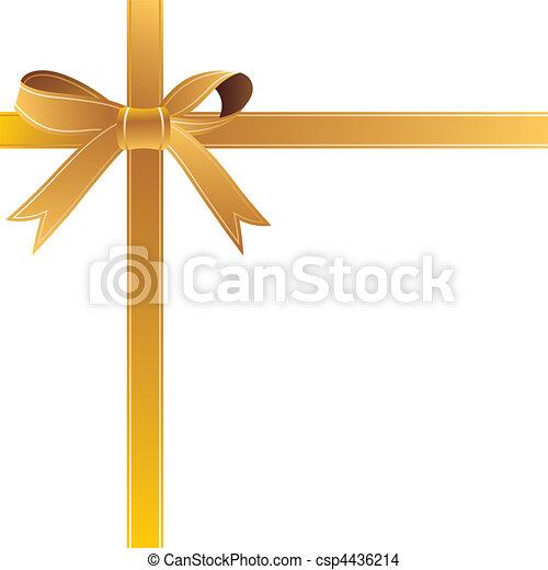 vector illustration gold gift bow