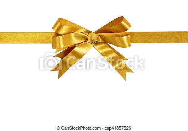 gold gift bow ribbon horizontal isolated on white background