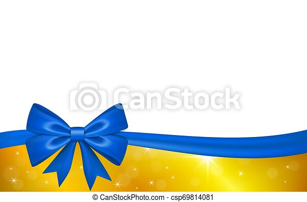 Gold Gift Card With Blue Ribbon Bow Isolated On White Background Decoration Stars Design For Christmas Holiday Celebration Greeting Valentine Day