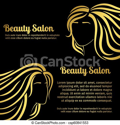 Gold Girls Hair Silhouettes Salon Banners Set Fashion Beauty Salon Banners Design With Gold Girls Head Silhouettes Vector