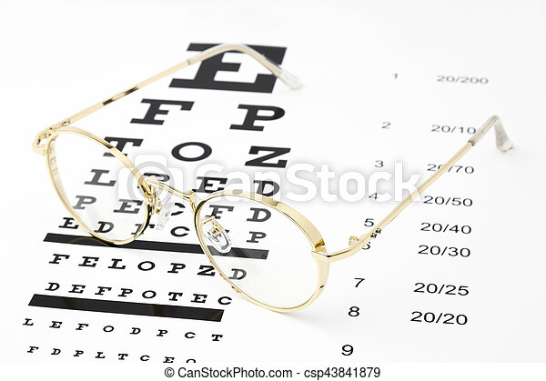 Gold Glasses With An Eye Chart Snellen