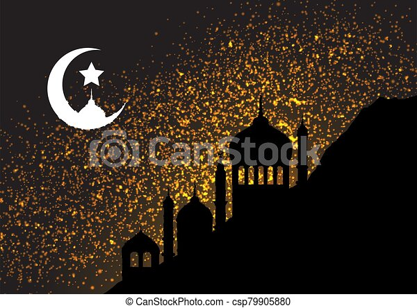 gold glitter background with mosque silhouettes 1603 - csp79905880