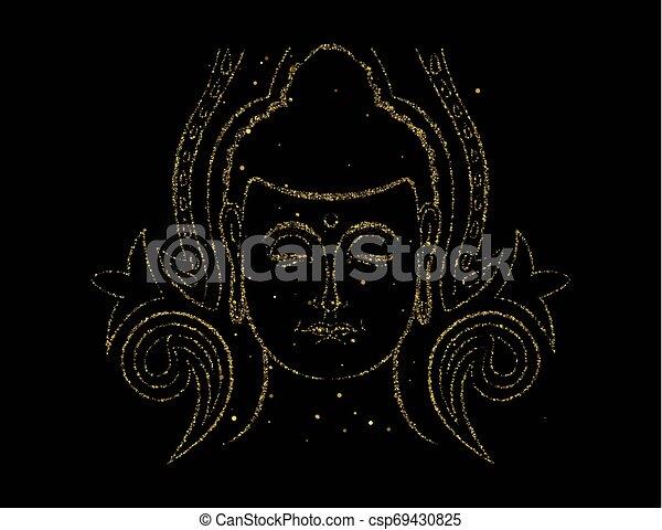 Gold glitter Buddha face for asian art concept - csp69430825