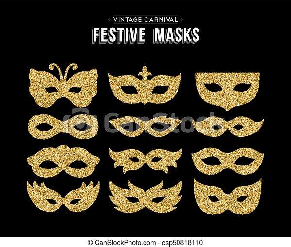 gold glitter carnival mask set for party event gold carnival masks