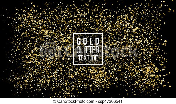 Gold Glitter Cloud Or Shining Particles Explosion Texture. Luxury Golden Sparkles Effect. Vector Dark Background. Like Sparkling Confetti Cloud Spray - csp47306541