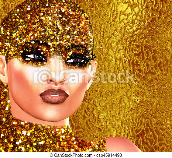 Gold glitter face and sequence girl. - csp45914493