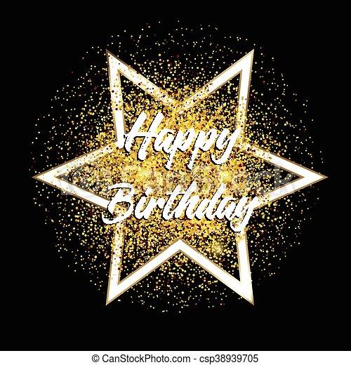 Gold Glitter Happy Birthday Background Happy Birthday