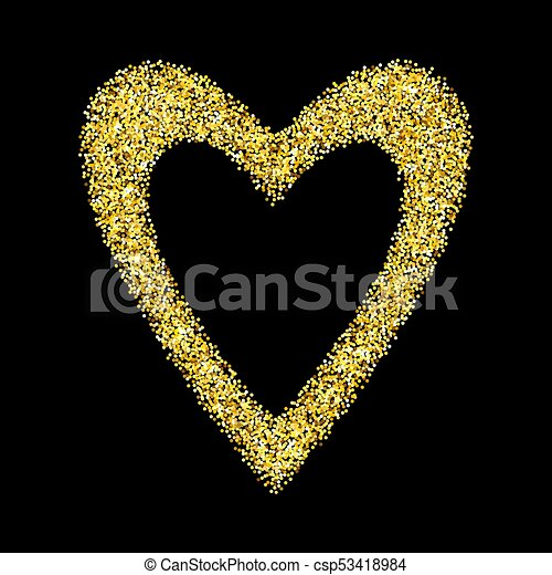41404f4d9e57 Gold glitter heart isolated over black background. happy valentines day  golden glamour design element.