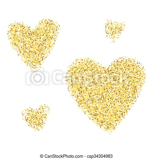 f2824d545604 Gold glitter hearts isolated over white background. happy valentines day  golden glamour design elements.