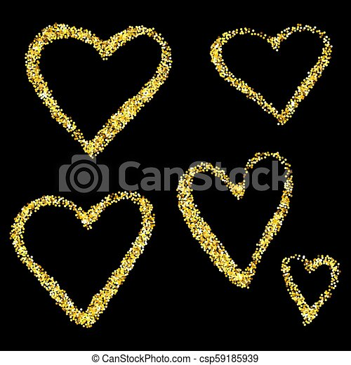 5b23b1c3a676 Gold glitter hearts isolated over black background. happy valentines day  golden glamour design elements.