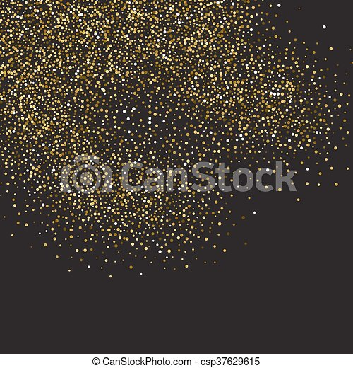 Gold glitter shine texture on a black background. Golden explosion of confetti. Golden abstract particles on a dark background. Isolated Holiday Design elements. Vector illustration. - csp37629615
