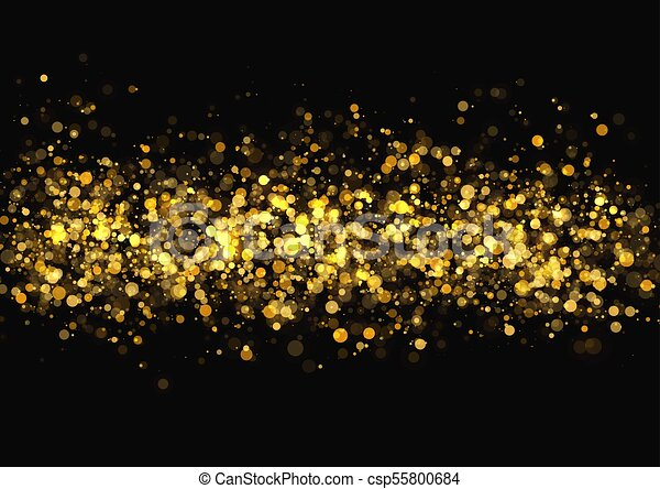 Gold Glitter Texture Irregular Confetti Border On A Black