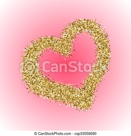 59be8e2814e2 Gold glitter valentines day heart on red gradient background. shimmery  sparkle love symbol for cards and greetings.