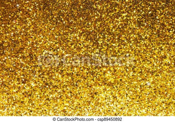 Gold glittery texture. Glitter golden background - csp89450892