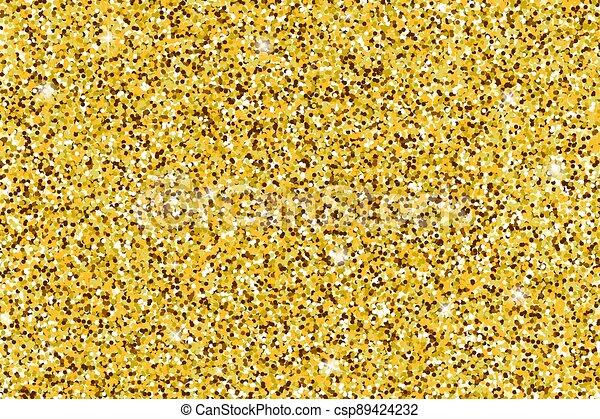 Gold glittery texture. Vector glitter golden background - csp89424232